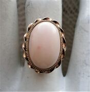 Antique Solid 14k Yellow Gold Angel Skin Pink White Coral Cocktail Ring