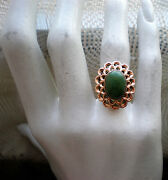 Vintage Solid 18k Rose Pink Gold Green Nephrite Jade Solitaire Cocktail Ring