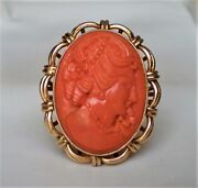 Antique Deco 14k Yellow Gold Carved Mediterranean Red Coral Cameo Ring 13.2 G.