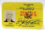 Scarce Yellow Employee Id Card From The 1962 Worlds Fair Century 21 Seattle