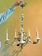 Tole Chandelier Italian 1960and039s Gold White Floral Rewired/porcelain Mintcondition