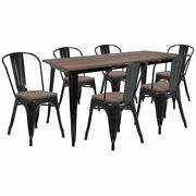 Flash Furniture 7 Piece 60 Dining Set In Black And Brown