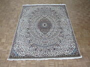 8and0393 X 10 Hand Knotted Ivory Persian Nain Gombad With Silk Oriental Rug G4393