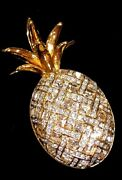 Authentic Large Golden Pineapple Brooch Pin Retired And Rare