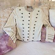Free People Military Jacket Stretchy Matisse Beige W/lots Of Brass Buttons Lg