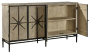 Grey Wash Solid Wood Sideboard Credenza Reclaimed Pine With Wrought Iron Accents