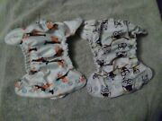 Lot Of 2 Grovia Newborn All In One Aio Cloth Diapers - Htf Owls And Planes