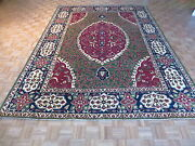 9 X 12 Hand Knotted Green Fine Peshawar Oriental Rug Vegetable Dyes G3420