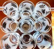 Vintage Set Of 9 Mid Century Libbey Juice Glasses Silver Leaf Frosted Retro