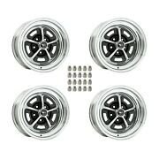 Magnum 500 Wheels Kit With Black Mustang Wheel Caps And Lug Nuts 15 X 7