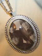 Handsome Silvertone Rope Rimmed Black And White Fab 4 Beatles Pendant Necklace