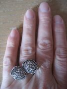 Sold Out Judith Ripka Sterling Silver Mercury By-pass Rings White Sapphires Sz 5