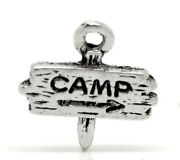 10 Antique Silver Pewter Camp Sign Charms Pendants . Chs0246