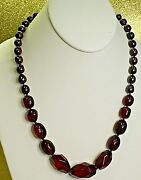 Garnet Red Glass Necklace W Freshwater Pearls Hand Knotted Coldwater Creek N52
