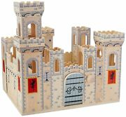 Castle Play Set Kids Childrens Creative Building Wooden Learning Medieval Night