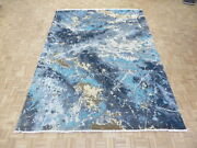 9 X 12and0392 Hand Knotted Blue Modern Absract Wool And Silk Oriental Rug G6896
