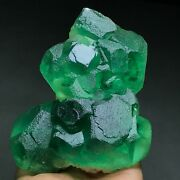994g Larger Particles Dark Green And Translucent Trapezoidal Fluorite Specimen