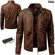 Mens Leather Jacket Biker Motorcycle Retro Classic Cafe Racer Genuine Leather