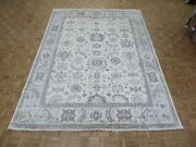 9and0392 X 12and0393 Hand Knotted Ivory Blue Turkish Bamboo Silk Oushak Oriental Rug G6861