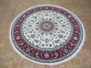 10 X 10 Round Hand Knotted Ivory Red Fine Nain With Silk Oriental Rug G5968