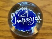 Handcrafted Vintage Imperial Glass Company Motto Advertising Paperweight