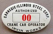 1940's Wwii Carnegie-illinois Steel Irvine Employee Pinback Button Home Front +