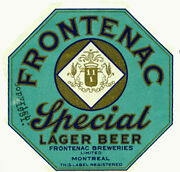 Frontenac Brewing Beer Label T Shirt Montreal Canada Small - Xxxlarge
