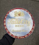 1973 Falls City Beer Gold Leaf Mirror Sign Louisville Kentucky Ky Brewery Crest
