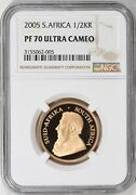 2005 South Africa 1/2 Oz Gold Krugerrand Ngc Proof-70 Uc