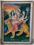 Large Antique Oil Painting Durga Devi Hindu Goddess Hand Painting On Card Board