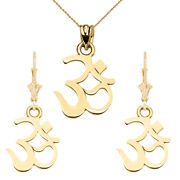 14k Ohm Om Ganesh Pendant Necklace Set In Yellow/white /rose Gold