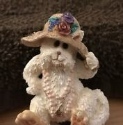Darling Pin By Boyd's Bears And Friends White Bear With Flowered Hat