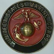Us Marine Corps Brass Only Solid Brass Emblem 6 1/2 Painted Insignia Military