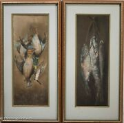 Antique Pastel Painting Of Still Life Of Dead Game Birds And Fish Signed
