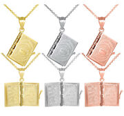 Solid Gold Religious 3d Moveable Koran Quran Book Text Of Islam Pendant Necklace