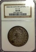 1834 Small Date Small Letters Capped Bust .50 Half Dollar Silver Ngc Au58 Tone