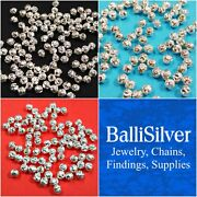 Wholesale Lots 3mm, 4mm, 5mm Real 925 Sterling Silver Hammered Beads Ballisilver