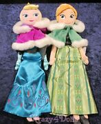 Disney Store Holiday Frozen Anna And Elsa 20 Plush Dolls With Winter Capes