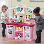 Pink Play Kitchen Toddler Girls Plastic Light Weight Safe Play Room Creativity