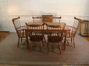 52458 Brand New Solid Cherry Farm Style Table And 6 Matching Windsor Chairs