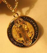 Handsome Black And Gold Epoxy St. Benedict Pax Cross Medal Pendant Necklace
