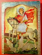 Silver Foil Oklad Russian Orthodox Hand Painted Icon Of St.george 15.35and039and039