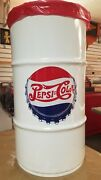 Pepsi Cola Soda Vintage Style 16 Gallon Syrup Drum / Rolled Steel Trash Can
