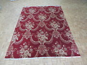 9and039 X 12and0392 Hand Knotted Red Jewel Agra Oriental Rug Wool And Silk G4981