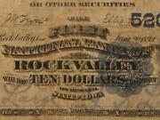 Rock Valley, Iowa Ia 1882 Db 10.00 Ch. 5200 The First National Bank