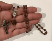 Vintage Rosary Sterling Silver Italy Religious Crucifix Antique Carved Beads 16