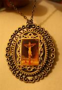Handsome Swirled Rim Fluted Crucifixion Of Christ Sepia Pendant Necklace Brooch