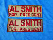 Vintage 1928 Al Smith For President Embossed Metal License Plate Signs Lot Of 2