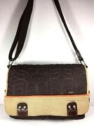 Fossil Large Brown Tan Trim Quilted Fabric Crossbody Messenger Bag