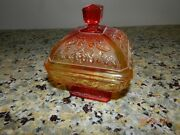 Vtg Amberina Red Yellow Oak Leaf Acorn Depression Ware Glass Candy Dish With Lid